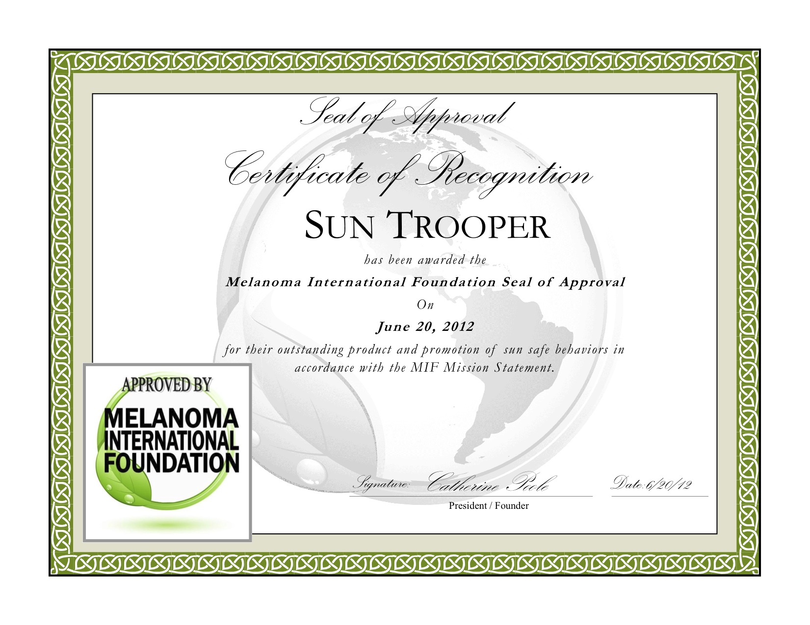Seal of Approval for SunTrooper® from Melanoma International Foundation